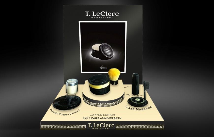 Présentoir produits 130 ans T-Leclerc